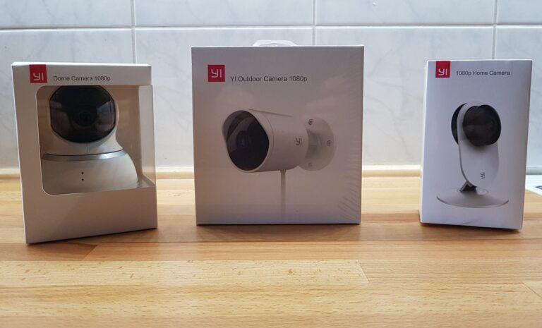 Drei Home-Kameras von Yi Technology. Sie eignen sich zum Teil auch als Babycam. (Foto: Sven Wernicke)