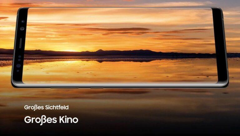 Großes Display,großes Kino. Samsung-Werbung für große Displays, hier für das Note 8