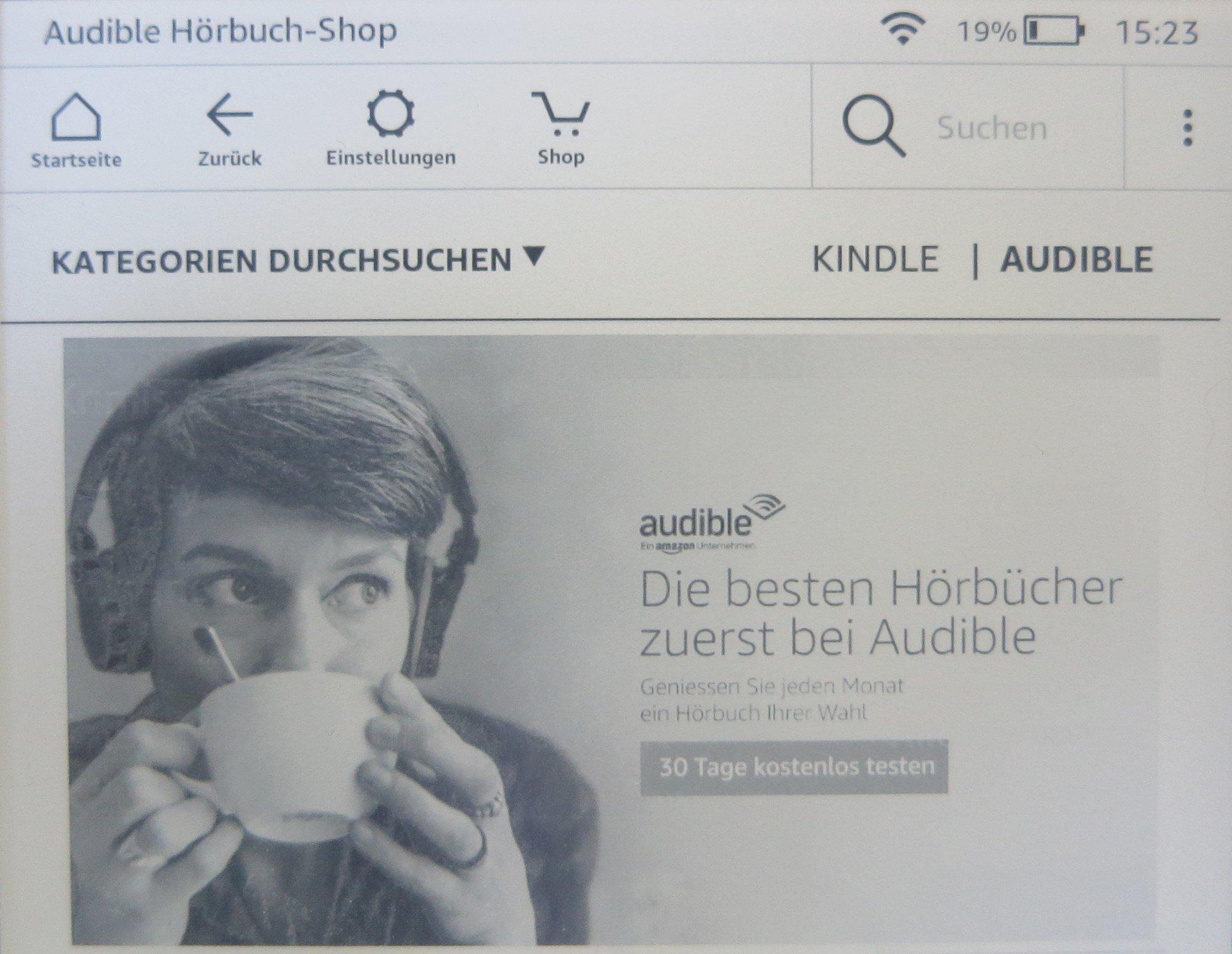 Hörbücher gibt es auf dem Amazon Kindle Paperwhite 2018 im Audible-Shop (Bild: Peter Giesecke)