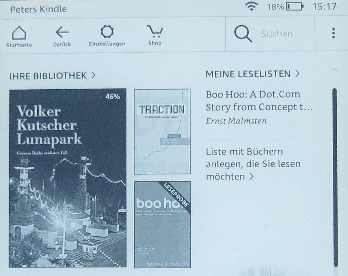 Futter für den Amazon Kindle Paperwhite 2018: ein E-Book wurde aus meiner Amazon-Bibliothek geladen, eines war schnell gekauft (Bild: Peter Giesecke)