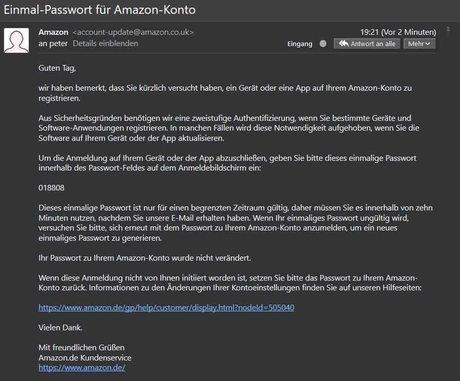 Um den Kindle Paperwhite bei Amazon anzumelden, muss noch ein Einmalpasswort eingegeben werden, das per Mail verschickt wird (Screenshot)