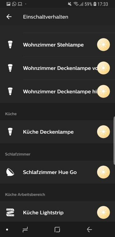 Alle Lampen werden einzeln angepasst. Gruppierungen? Nicht möglich. (Foto: Screenshot)