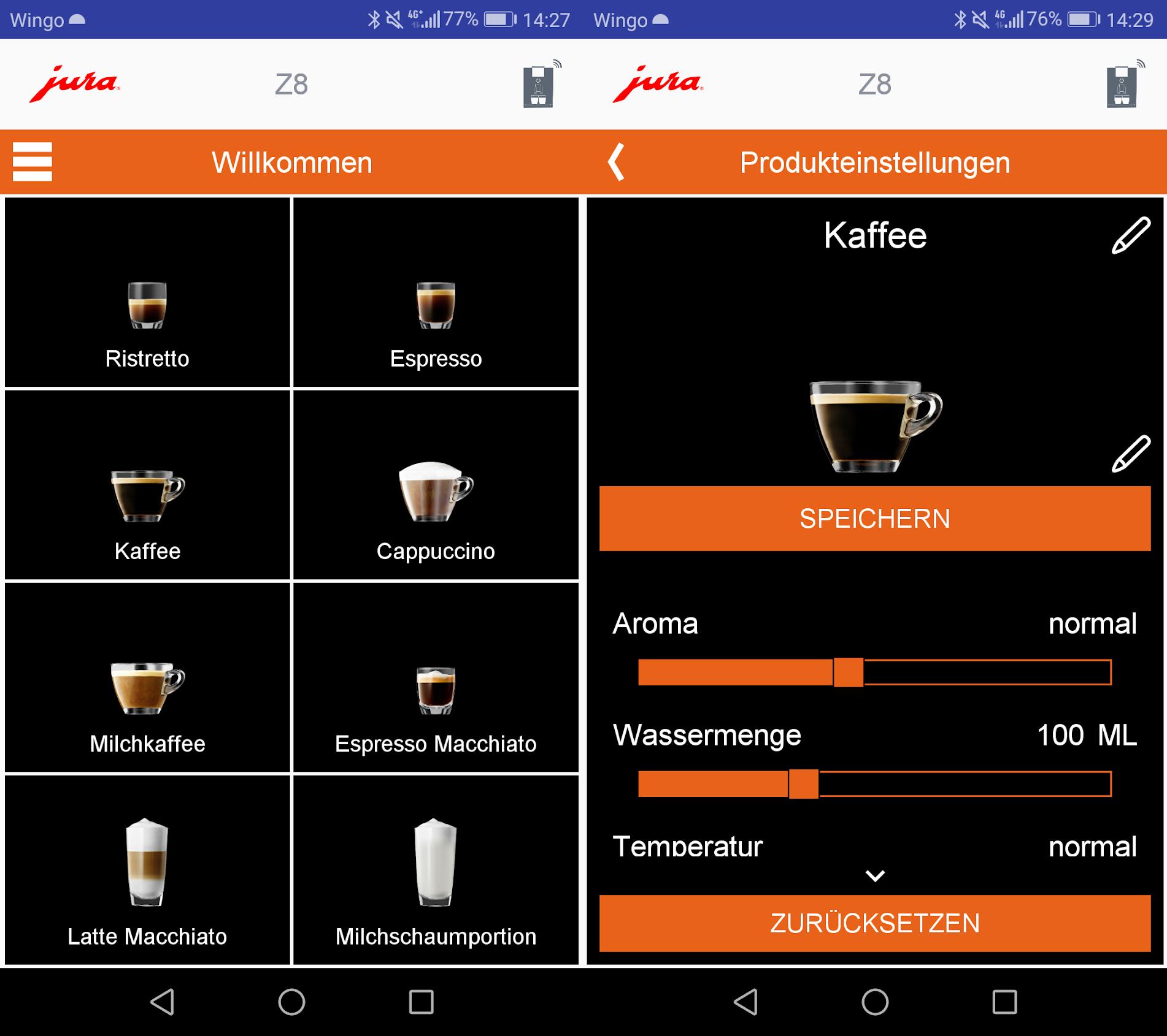 Über die App J.O.E. lässt sich die Jura Ena 8 komplett steuern (Bild: Google Play Store)
