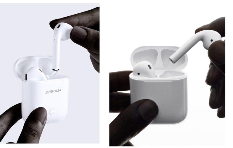 Links Joyroom JR-T03, rechts Apple AirPods. Da wird doch nicht am Ende der eine vom Marketing des anderen abgeguckt haben? ;)
