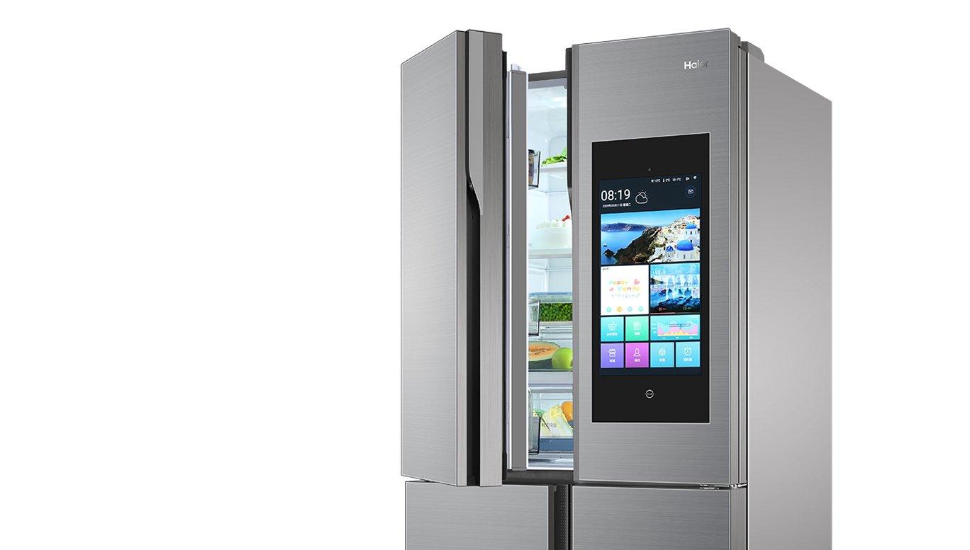 Der Kühlschrank Haier HTF-552DGS6U1 verfügt über einen 21,5 Zoll großen Außenbildschirm (Bild: Haier)
