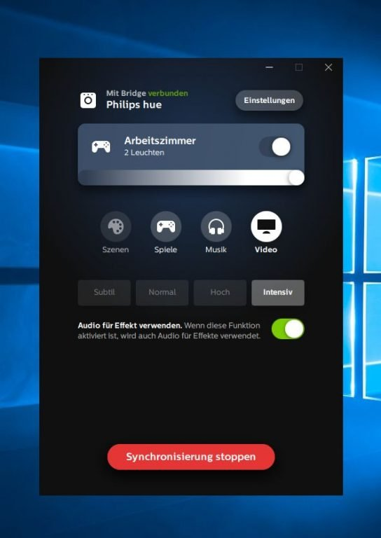 Eine einfache, aber gut gelöste Anwendung - Hue Entertainment unter Windows. (Foto: Screenshot / Sven Wernicke)