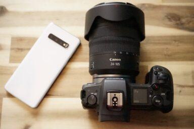 Canon EOS R und ein Samsung Galaxy S10