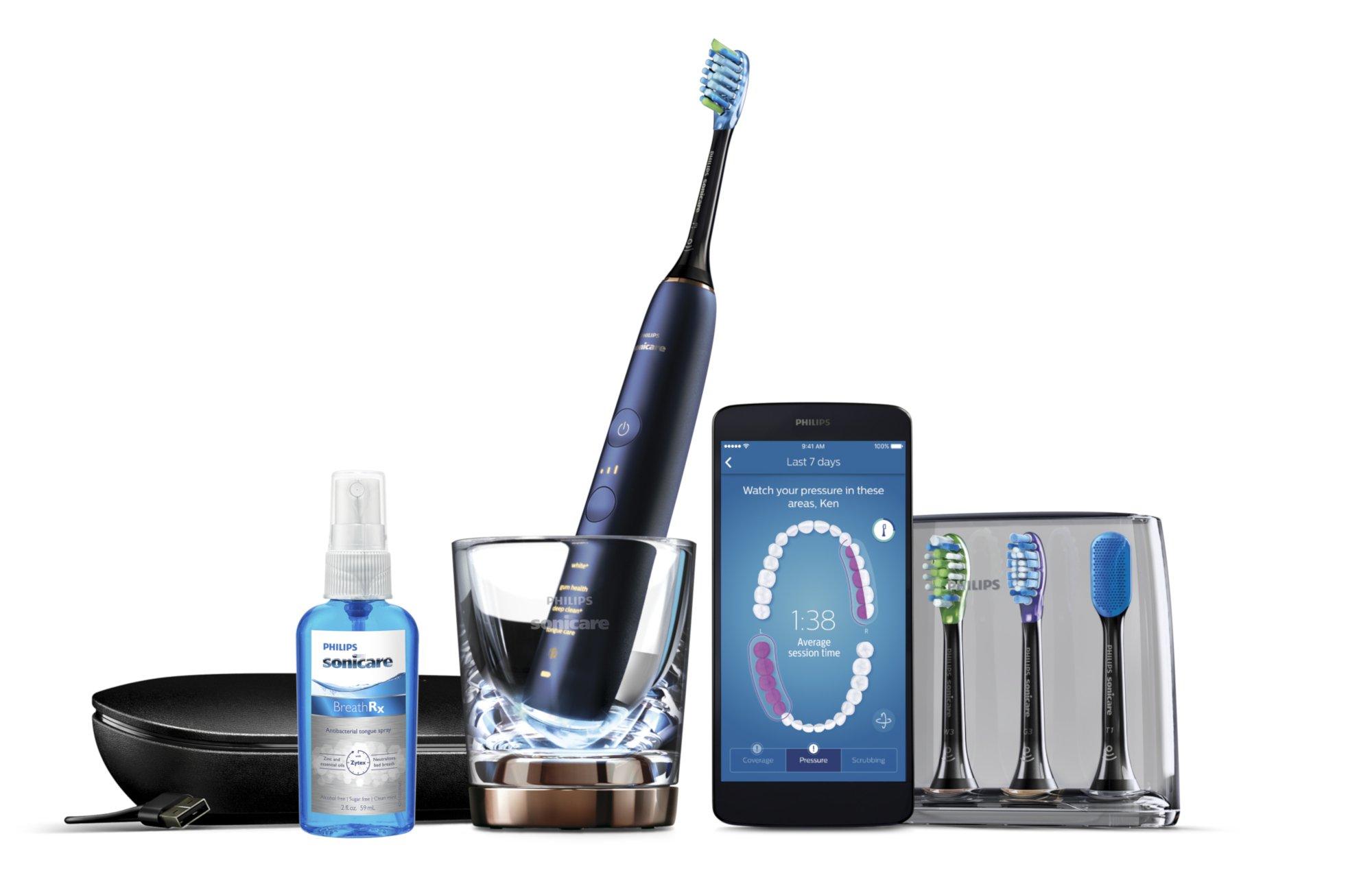 Die Philips Sonicare Diamond Clean Smart schickt ihre Daten an das Smartphone – um das Putzverhalten zu verbessern (Bild: Philips)
