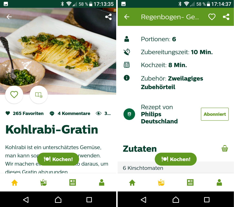 Die NutriU-App für die Heißluftfritteuse Philips Airfryer XXL bietet viele Informationen und ist schön übersichtlich (Screenshots: Peter Giesecke)
