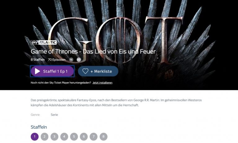 Game of Thrones mit Sky Ticket