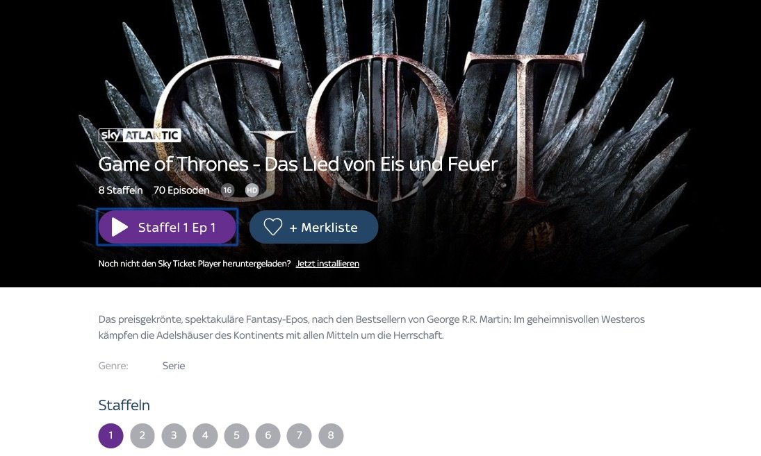 Sky Ticket Game Of Thrones Staffel 6