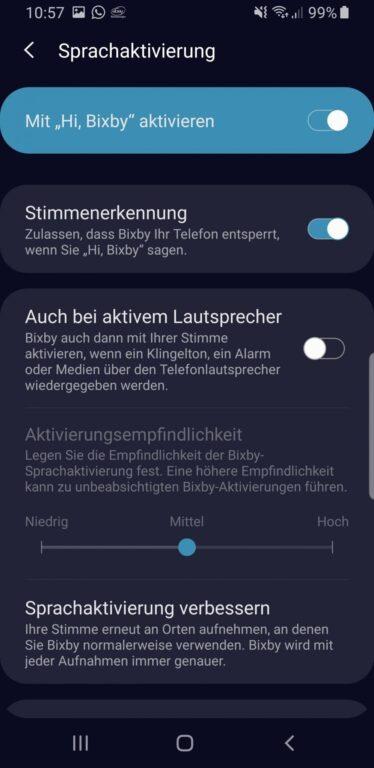 In den Einstellungen schaltet ihr Bixby in Deutsch wieder an. (Foto: Samsung)