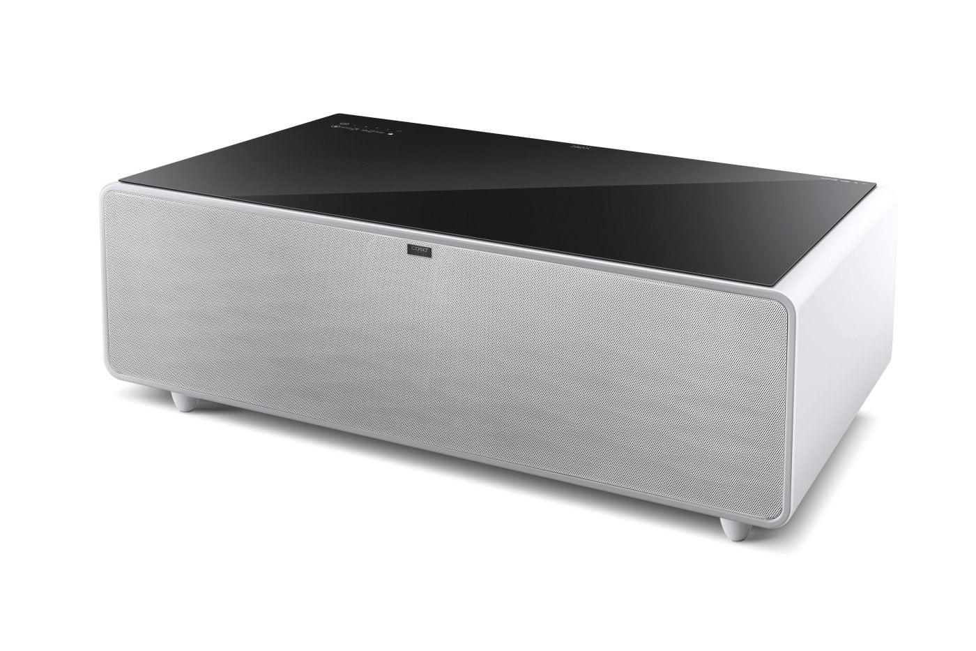 Caso Designs Sound & Cool ist ein eleganter Wohnzimmertisch mit Getränkekühler und Soundbar