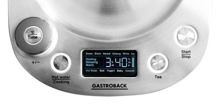 Beim Wasserkocher Gastroback Design Tea & More lässt sich jede Temperatur einstellen – über die Bodenplatte (Bild: Gastroback)