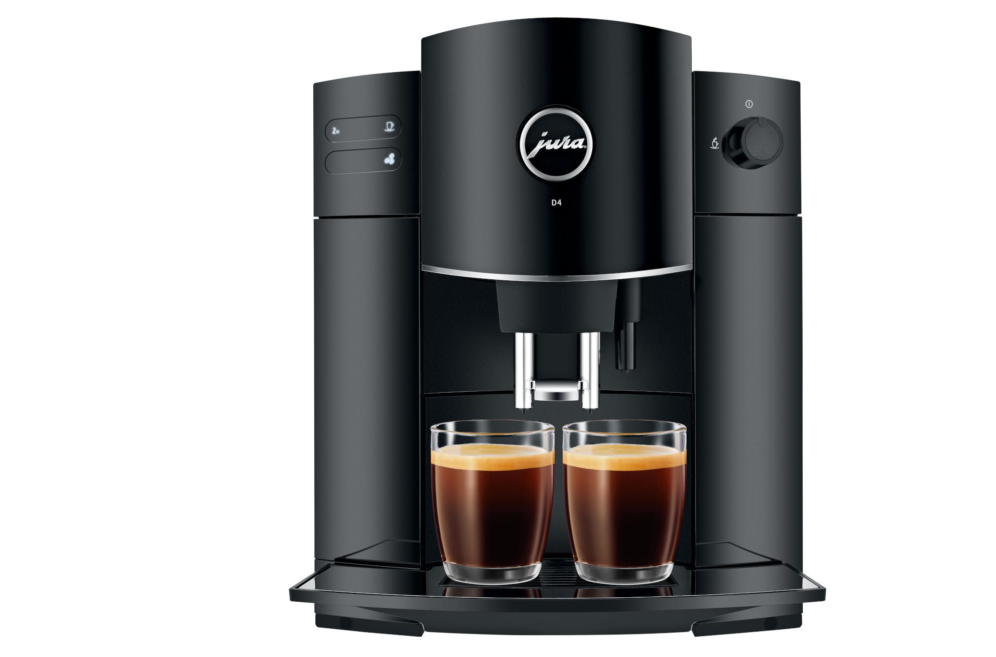 Der Kaffeevollautomat Jura D4 kann in einem Durchgang auch zwei Espressi oder einen doppelten aufbrühen (Bild: Jura)