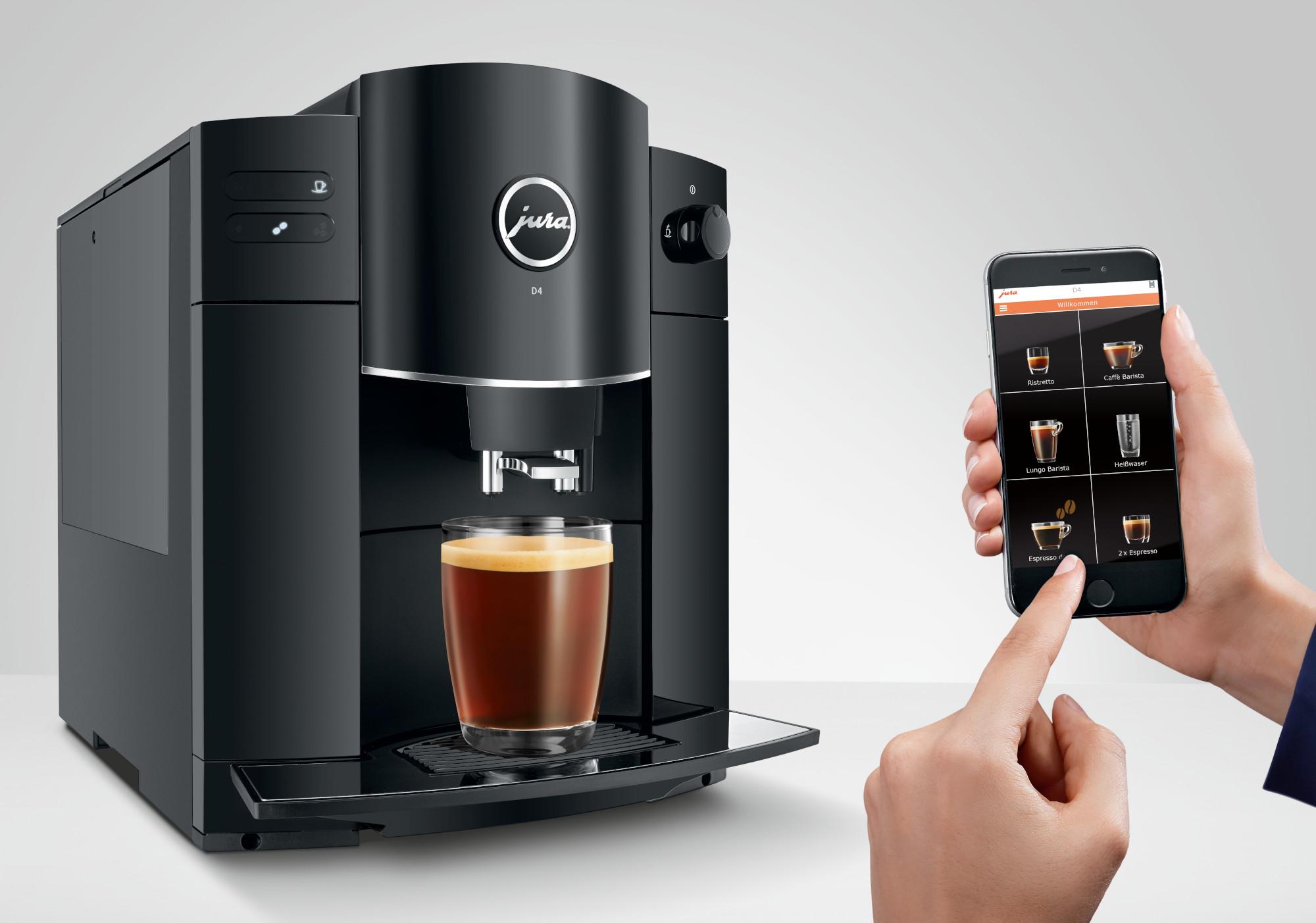 Mit der Smartphone-App J.O.E. könnt ihr aus dem Kaffeevollautomat Jura D4 noch mehr herausholen (Bild: Jura)