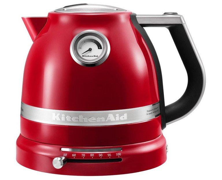 Beim Wasserkocher KitchenAid 5KEK1522EER Artisan lässt sich die Temperatur über einen Schieberegler einstellen und über einen Drehzeiger ablesen (Bild: Kitchenaid)