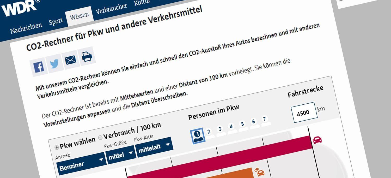 Auf den Seiten des WDR könnt ihr die CO2-Freisetzung eurer Verkehrsmittel berechnen - E-Scooter fehlen allerdings noch.