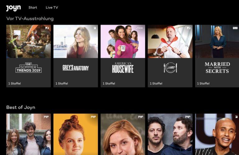 Joyn-Mediathek: Einige Sendungen laufen auch vor dem Free-TV-Start