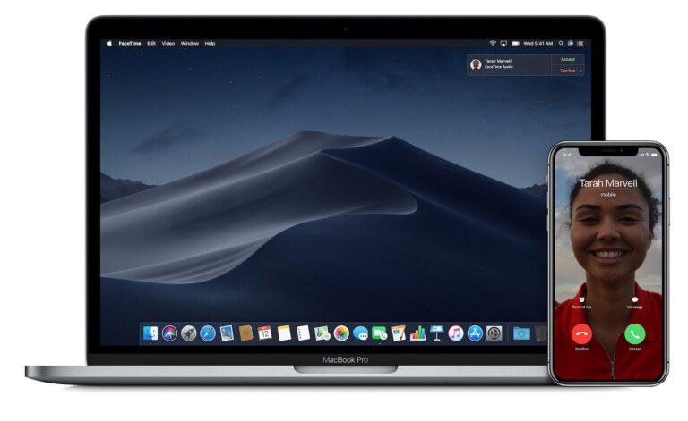 Telefonanrufe mit dem Mac annehmen. Funktioniert, aber nicht wirklich nahtlos, sondern nur mit einer Zeitverzögerung. Bild: Apple