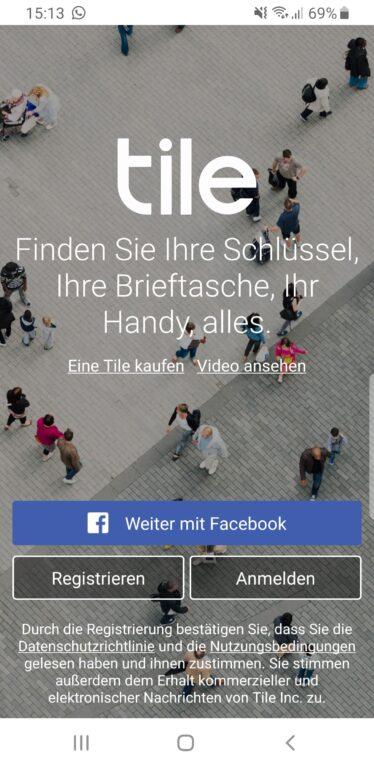 Die Tile-App. (Foto: Screenshot)