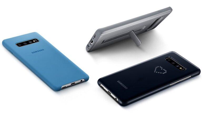 Für das Galaxy S10 gibt es wunderschöne Hüllen wie meinen Favoriten, das Protective Standing Cover oben rechts.