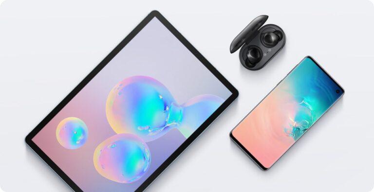 Galaxy Tab S6 nebst Galaxy S10 und Galaxy Buds