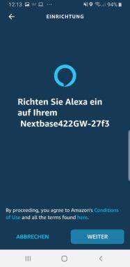 Alexa mit der Dashcam koppeln. (Foto: Screenshot / Sven Wernicke)