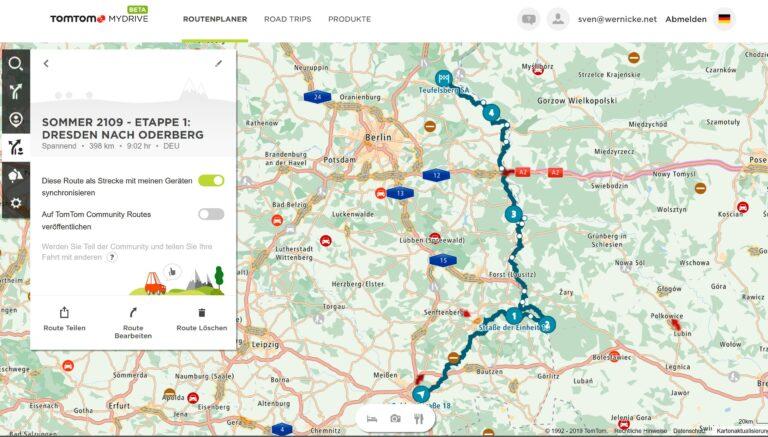 Die Route meiner ersten Etappe ist fertig. Eine Woche für knapp 400km. (Foto: Screenshot)