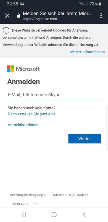 Anmelden, um die Xbox One mit Alexa zu verbinden. (Foto: Screenshot)