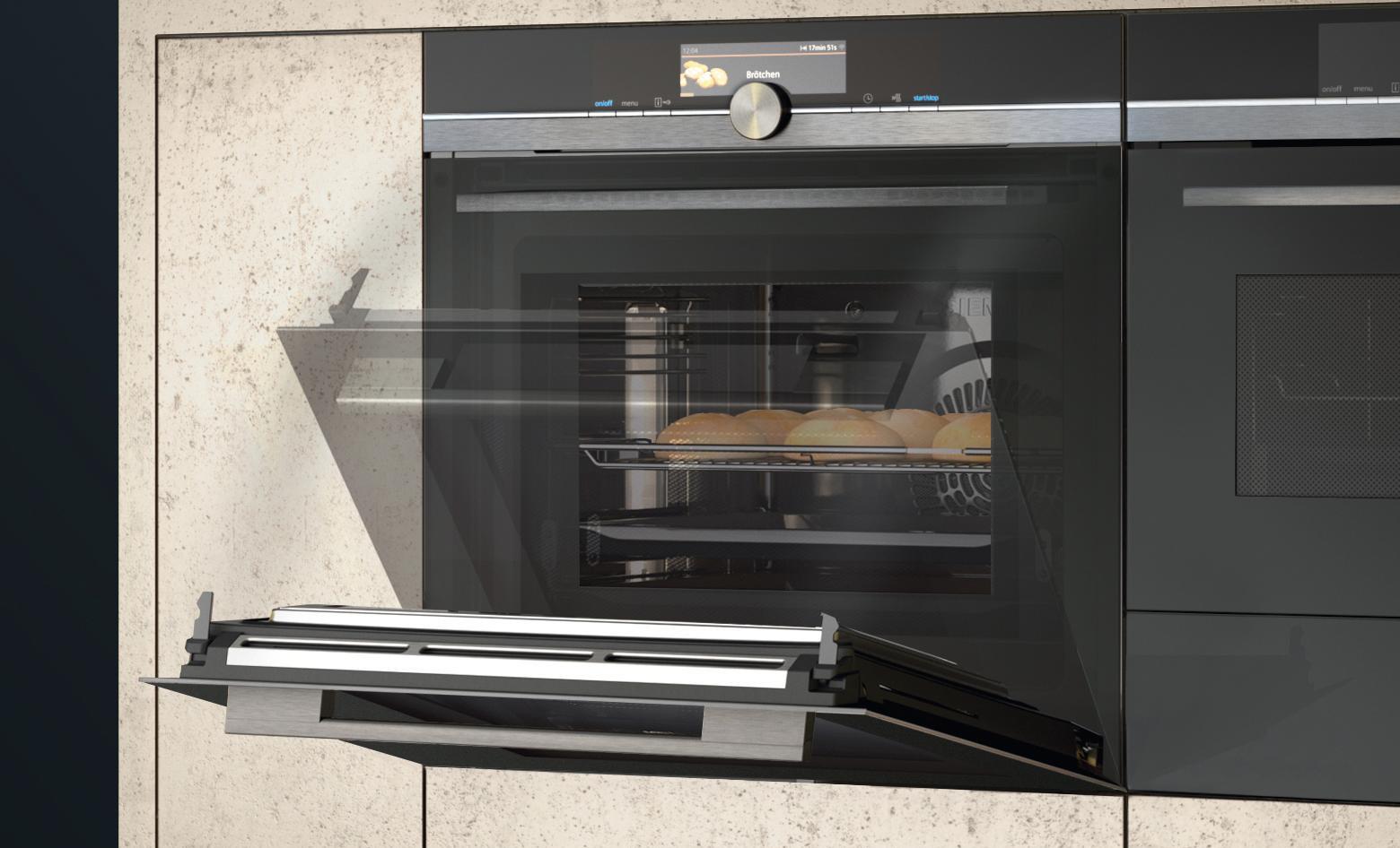 Siemens-Backofen mit sprachgesteuerter Türöffnung
