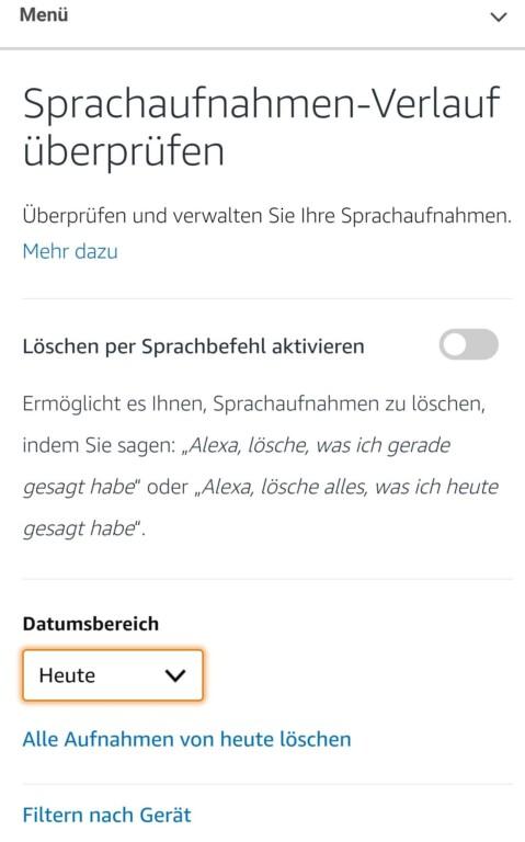 Löscht Sprachauchnahmen. Mit einer Sprachaufnahme. (Screenshot)