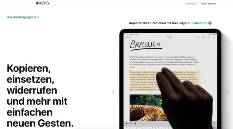 Einfache Gesten sollen die Textbearbeitung unter iPadOS unterstützen.