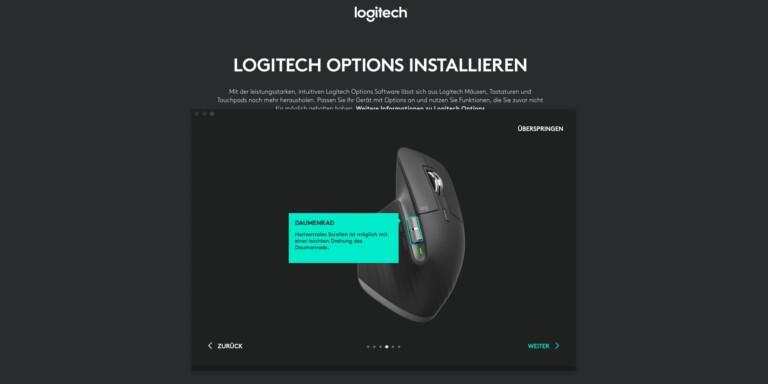 Software Logitech Options mit vielen Einstellmöglichkeiten