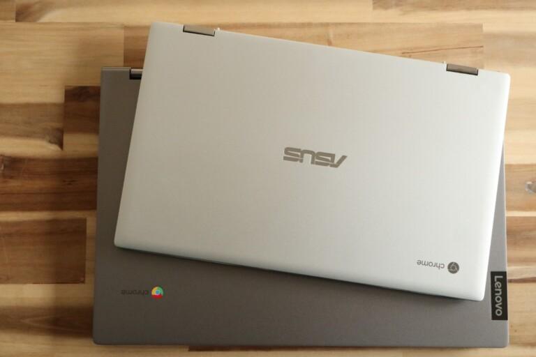 Größenvergleich: Das Lenovo Chromebook C340-15 unten ist riesig (im Vergleich zum Asus Flip C434).