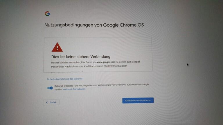 Keine sichere Verbindung? Ja nun, Google, etwas Besseres bietet mein Router nicht.
