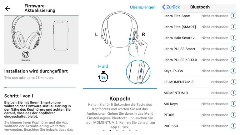 Sennheiser Momentum Wireless 3 - das Koppeln