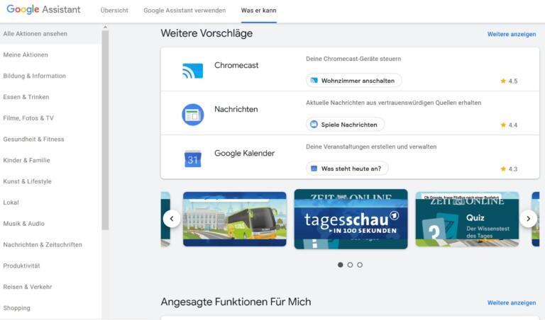 Hier zu sehen: Allerlei Aktionen, von denen viele auch auf Smart Displays funktionieren. (Screenshot)