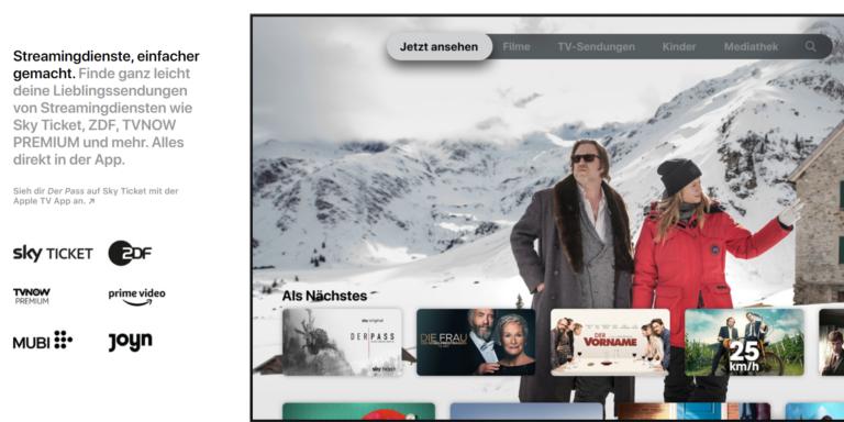 Praktisch: Die Apple TV App (z.B. für das iPad) integriert auch andere Streaming-Dienste wie Sky Ticket oder Joyn