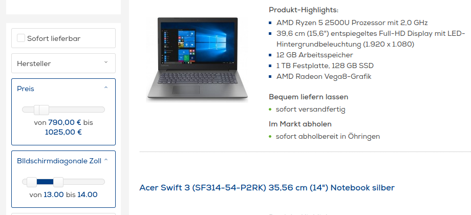 Notebook-Konfigurator im Euronics-Onlineshop