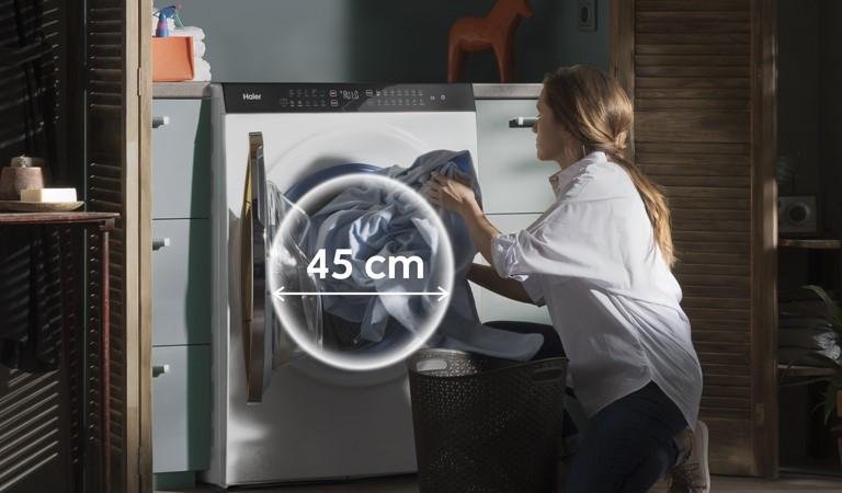 Waschtrockner Haier Super Drum mit 45-cm-Türöffnung