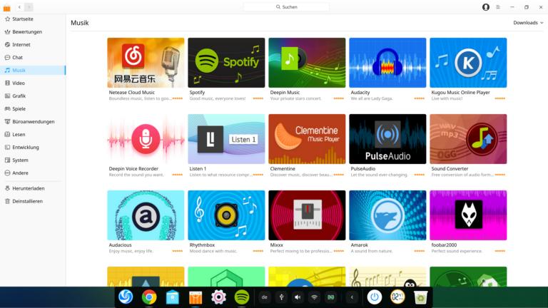 Der sehr übersichtliche Deepin App Store