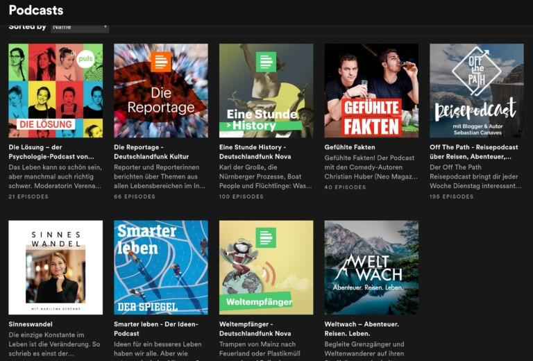 Spotify-Podcasts. Der Streaming-Dienst hat auch eigene Exklusiv-Titel