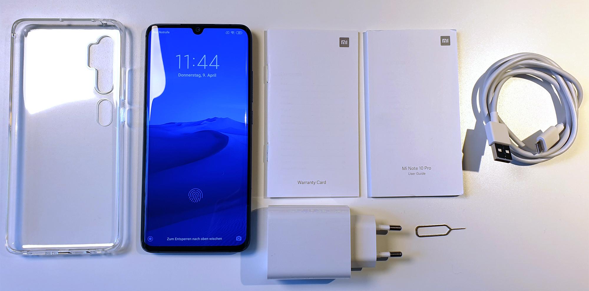 Xiaomi Mi Note 10 Pro: Lieferumfang
