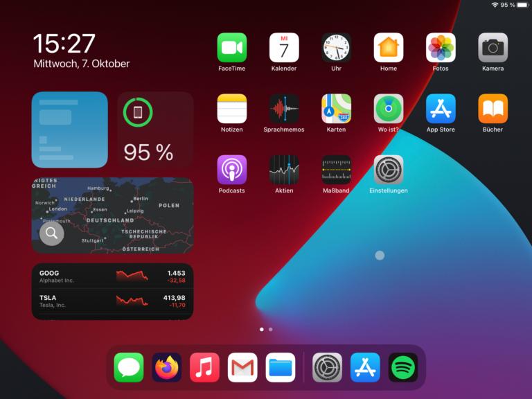 Der Homescreen von iPadOS 14 mit Widgets