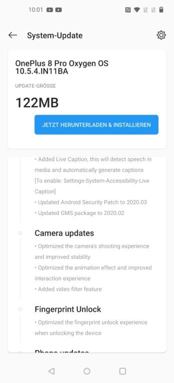 Schon vor Release veröffentlichte OnePlus ein erstes Update für das OnePlus 8 Pro. (Screenshot)