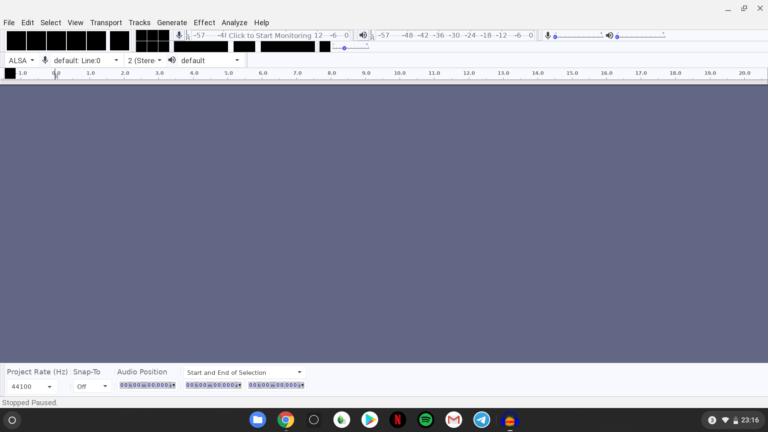 Einzelne Menüpunkte geschwärzt. Die Installation der Linux-App Audacity auf Chrome OS hat nicht reibungslos funktioniert.