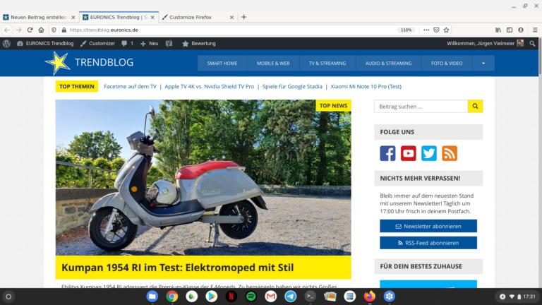 Firefox für Linux virtualisiert unter Chrome OS
