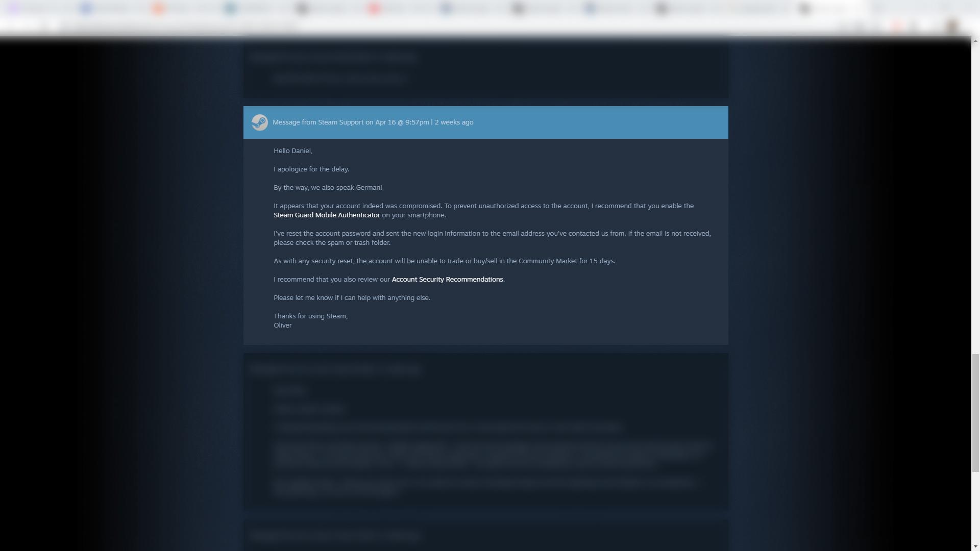 Steam Support Wartezeit