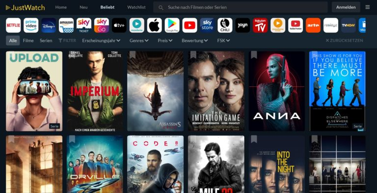 JustWatch funktioniert auch direkt im Browser, wie hier auf dem Foto zu sehen. Als App für Apple TV ist sie auch eine Bereicherung. (Screenshot)